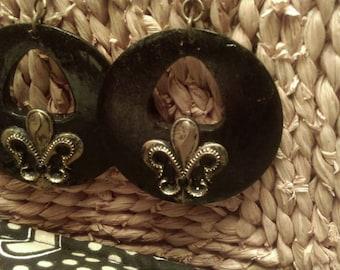 Black and Gold Fleur De Lis Hoop Earrings