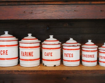 French red and white enamelware canisters - set of 6