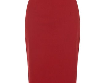Brand New Retro Vintage Style Red Pencil Skirt Pin Up Rockabilly Wiggle Skirt