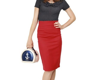 Brand New Retro Vintage Style Fiona Red Pencil Skirt Pin Up Rockabilly Wiggle Skirt