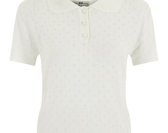Brand New Vintage Style Ivory/Cream Knitted Polo Top Rockabilly Pin Up 50s Style