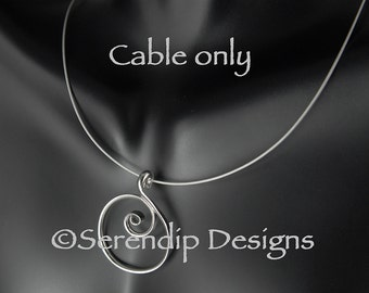 Silver Neck Cable, 18 inch Silver Neck Cable, 16 Inch Silver Necklace Cable with Lobster Claw Clasp, 20 inch Pendant Cable