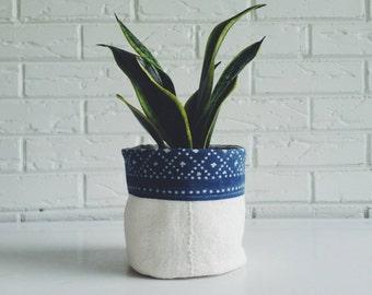 Boho Plant Holder - Vintage Textile Planter - Indigo Batik Plant Cover