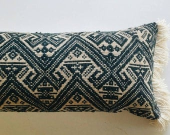 Vietnamese Long Lumbar Pillow Cover - Deep Teal Boho Luxe Pillow with Gold Fringe - Vintage Throw
