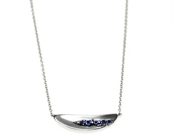 Silver necklace with sapphires. silver necklace, original necklace, statement , pendant, gift, handcrafted, designer