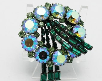 Vintage Swag Style Blue and Green Brooch
