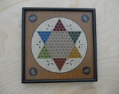 Primitive Wood Chinese Checkers Game Board Folk Art Miniature Limited Edition Gameboard
