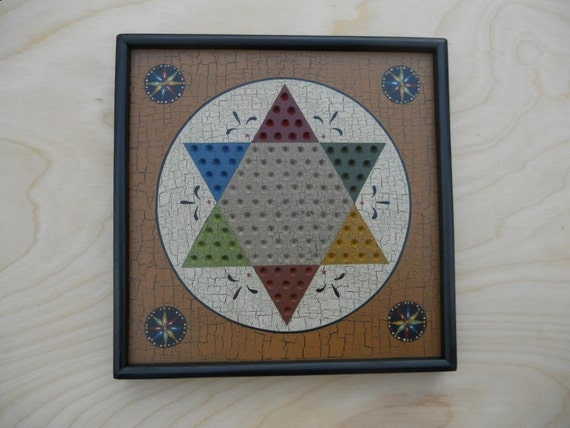Chinese Checkers, Miniature, Game Board, Wood, Game Boards, Wooden, Hand Painted, Folk Art, Primitive