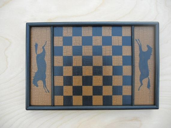Primitive Wood Checkerboard Game Board Folk Art Miniature Limited Edition Horse Gameboard