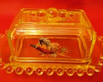 VALENTINESALE Vintage Vaseline Covered Butter Dish with Pheasant in Flight on either side