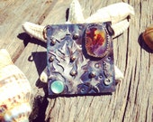 Coral Reef Pendant of Dendritic Agate and Aquamarine in Sterling Silver . ocean jewelry, sterling starfish, seahorse