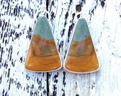 Wild horse picture jasper sterling silver earrings, santa fe earrings, southwest earring, sterling dangle earrings, metalsmith earrings.
