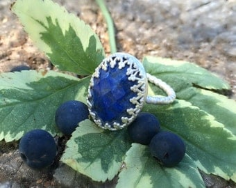 Faceted Lapis lazuli sterling silver ring, Lapiz stacking ring, sterling lapiz ring, size 7.5-8. apis stacking ring