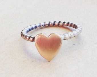 Stacking  Gold Heart Ring, ring stack, heart ring, gold ring, sterling ring , tiny jewelry