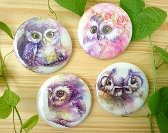 Set of owls series brooches 4 pcs.