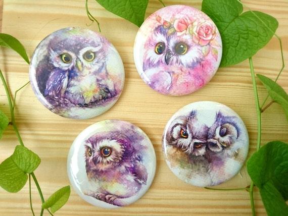 Set of owls series brooches 4 pcs.