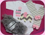 Coming Home Outfit Personalized Girls Newborn Elephant Bodysuit, Bloomers Diaper Cover, and Leg Warmer SET 3 PIECE Grey Aqua You Design