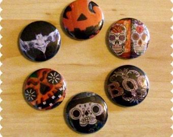 Halloween Pins, Magnets, or Thumb Tacks - Set of 6 - Skulls and Pumpkins