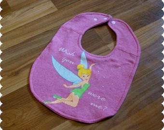 Tinkerbell Baby Bib, Recycled T-Shirt Bib, Glitter, Disney Baby Shower, Baby Girl Gifts