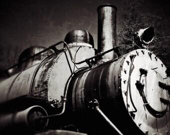 Black and White Photo, Locomotive Train Art Print, Train Theme Decor, Wall Decor