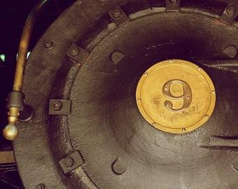 Train Print, Train Wall Art Photography, Train Photo, Engine 9, Digital Photography, Yellow Gold Train