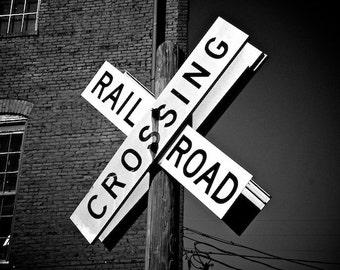 Railroad Crossing Sign, Train Photo, Urban Photo Wall Decor