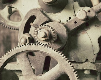 Gears Wall Art, Factory Salvage Art, Railroad Factory Photograph, Industrial Decor