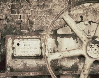 Rusty Gear Art Print, Old Machinery Photo, Industrial Wall Art Print