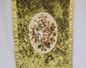 Antique Victorian Velvet Embroidery, Wall Tapestry, Floral