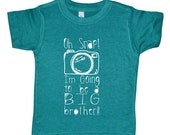 Oh Snap! I'm Going To Be A Big Brother - Funny Birth Announcement - American Apparel Tri Blend Boys Big Brother Camera Graphic Tee