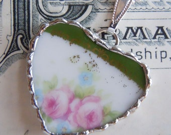 Fiona & The Fig Victorian-Antique French Limoges-Pink Roses-Broken China Soldered Necklace Pendant Charm-Jewelry