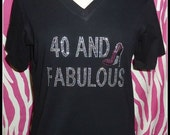 40 and fabulous tank top OR tshirt also 21 40 50 60 Rhinestone 40 birthday tank top 40th birthday shirt girls night out birthday weekend