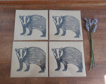 Linocut Cards Set of 4, Badger, Woodland Animal, Original Hand Printed Cards, Blank Greeting Cards, Brown Kraft Cards, Free Postage in UK,