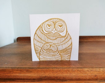 Christmas Linocut Card, Owls, Original Hand Printed Card, Blank Greeting Card,
