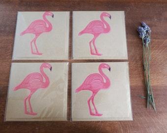 Set of 4 Card, Flamingo, Original Hand Printed Card, Linocut Card, Blank Greeting Card, Brown Kraft Card, Free Postage in UK,