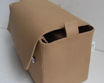 Bag organizer  with magnetic snap Flap closure - Purse organizer insert in  Sand fabric
