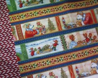 Twas the Night Before Christmas Pillowcase, Kids Holiday Standard Fabric Pillowcase Santa Polar Bear Mice Peppermint Stripes Gift under 10