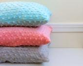 Minky Pillowcase - Toddler size - 12x16 or 13x18 inch - Sleep Pillowcase, Grey, Light Grey,White, Ivory, Pink, Fuchsia, Coral, Aqua