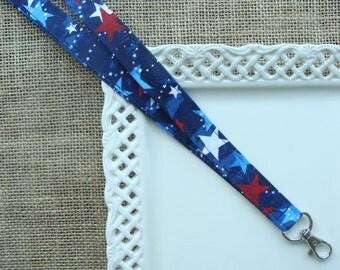 Fabric Lanyard ID - Floating Stars on Navy Blue