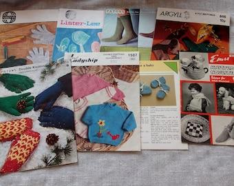 Lot 8 Vintage Knitting pattern leaflets, Socks, Baby, novelties