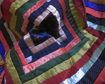 Vintage Patchwork Panel. Log Cabin Pattern. Vintage Fabric. Frame, make up as cushion, Upholstery .....