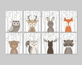 Baby Nursery Art, Woodland Nursery Animals, Baby Room Decor, Forest Animal Prints, Set of 8 Owl Deer Rabbit Bear Squirrel Moose Raccoon