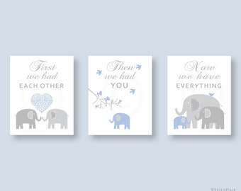 Elephant Nursery Decor, Baby Boy Nursery Wall Art Print in  Blue and Gray, First We Had Each Other, Nursery Wall Art by YassisPlace