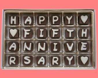 5th Anniversary Gift for Husband Wife Gift Fifth Five 5 Years Wedding Anniversary Couple Gift Happy Fifth Anniversary Cubic Chocolate Lettes