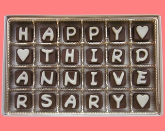 3rd Anniversary Gift Couple Boyfriend Husband Her Girlfriend Happy Third Anniversary Cubic Chocolate Letters AK APO International Shipping