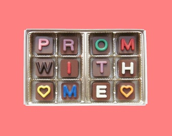 Prom With Me  Jelly Bean Chocolate Cube Letters Coolest Fun Way to Ask invitation Gift for Pretty Her Girl AK Canada International Shipping