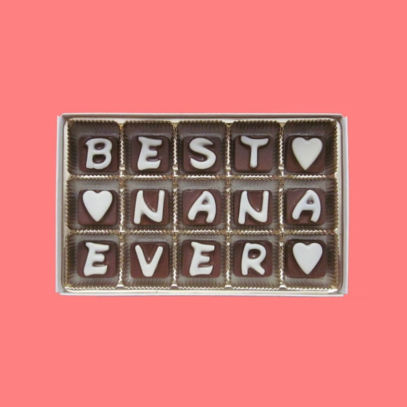 Mothers Day Gift for Grandma Grandmother Gift Idea Best Nana Ever Personalized Grandma Gift Box Cubic Chocolate Letters by What Candy Says