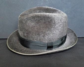 Vintage Gray Wool Felt Fedora Trilby Boho Hat Medium Boho Westworld 1970s
