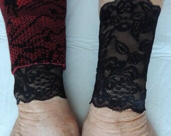 Wide Lace Bracelet Cuff, Bridesmaid Bracelet, (Item #3)Black Victorian Cuff, Wristlet, Wrist Cuff, Sleeve Trim, Tattoo Cover Up, Cuff