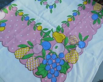 Fun Flowers Print Tablecloth, Pink, Blue, Green & Yellow